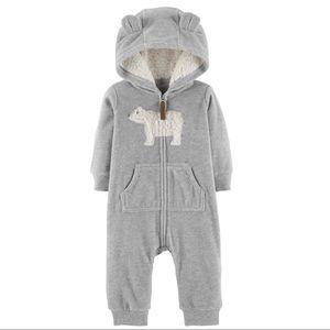 Zip-up Polar Bear Hooded Jumpsuit